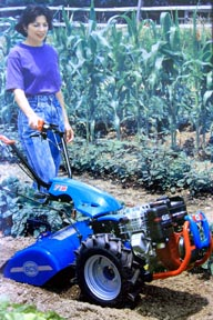 Woman using BCS gardening equipment, rototillers (tillers).  She is using the BCS tractor with rototillers or tillers attachment for her cultivator needs. These BCS two wheel tractors have interchangeable attachemnts that make them a cultivator, brush mower, snowthrower, dozer, sicklebar mower, lawn mower, sweeper and chipper/shredder.